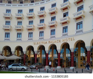 THESSALONIKI, GREECE - MAY 24, 2018: Facade of Electra Palace Hotel. Located in Aristotelous Square, it is one of the best five-star hotels in Thessaloniki.