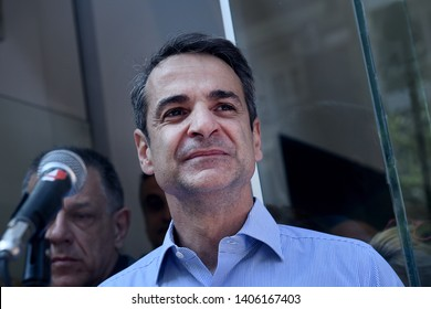 Thessaloniki, Greece - May 24, 2019. Kyriakos Mitsotakis, leader of the New Democracy party during a pre-election speech.