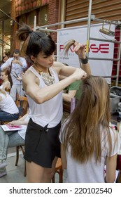 THESSALONIKI, GREECE- MAY 25, 2014: Models are being prepared for the 4th casting call of Rin Tin Tin store in Thessaloniki, Greece.