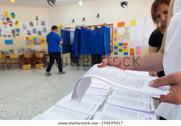 THESSALONIKI, GREECE, MAY 25, 2014: Highlights during the municipal, European and regional elections in Greece. 10 million Greeks are voting to elect mayors and European political parties.