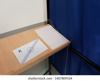 Thessaloniki, Greece - May 25 2019: European Parliament and local council elections in Greece. Voting envelopes inside booth area where Greeks over the age of 17 cast their vote, at school classroom.