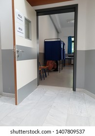 Thessaloniki, Greece - May 25 2019: European Parliament and local council elections in Greece. Voting booth area where Greeks over the age of 17 cast their vote, at a school classroom.