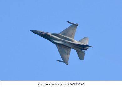 Thessaloniki, Greece - May 3:  Jet Fighter F-16 block 52 plus Demo Team Zeus on the airshow on May 3,2015 in Kavala, Greece.