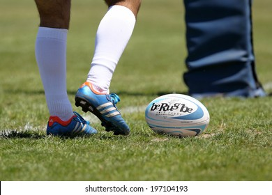 THESSALONIKI, GREECE- MAY 31, 2014: Rugby ball during the match of Turkey vs Montenegro for the European Championship Rugby, which took place in Thessaloniki, Greece.