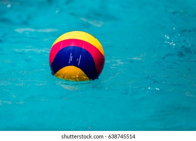 Thessaloniki, Greece May 4, 2017 : A water polo ball floating on the water in a pool during the Greek League water polo game PAOK vs Glifada