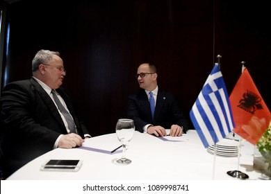 Thessaloniki, Greece - May 4, 2018. Greek Minister of Foreign Affairs Nikos Kotzias (Left) meets with Albanian Minister of Foreign Affairs Ditmir Bushati (Right), during a Ministerial meeting.
