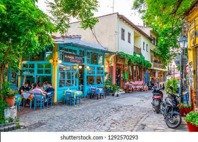 THESSALONIKI, GREECE, MAY 6, 2018: View of a narrow street in the old town of Thessaloniki, Greece