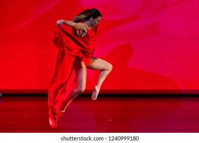 Thessaloniki, Greece - May 9, 2018: Unidentifieds dancers ballet during of the performance The Firebird during SKG Bridges Art and Culture Festival which took place at the Thessaloniki Concert Hall
