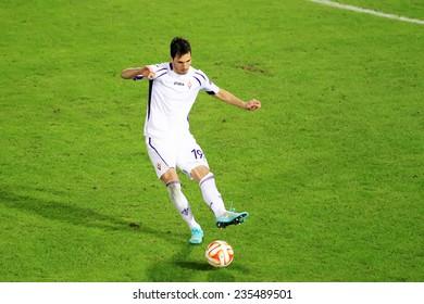 THESSALONIKI, GREECE - NOV 12, 2014 : Basanta of Fiorentina during the UEFA Europa League match Paok vs Fiorentina.