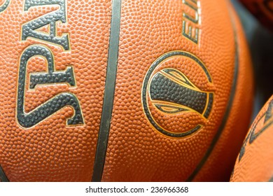 THESSALONIKI, GREECE - NOV 12, 2014: Basketball balls stacked prior to the Eurocup game Paok vs Buducnost
