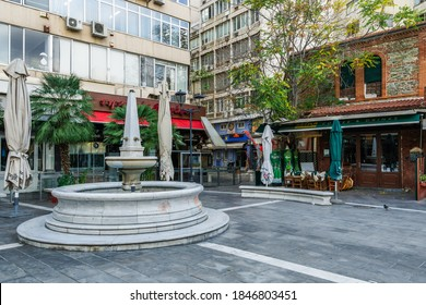 Thessaloniki, Greece - November 02 2020: Closed taverns without people at Ladadika area. Day view of closed restaurants due to lockdown covid-19 measures.