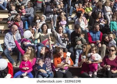 Thessaloniki, Greece, November 1 2015: Hundreds of mothers attended 6th Nationwide breastfeeding in public garden theater in Thessaloniki in celebration of World Breastfeeding Week