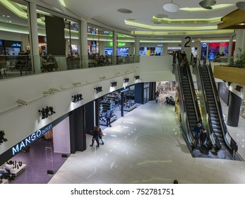 Thessaloniki, Greece - November 10 2017: One Salonica Outlet Mall internal view. Unidentified customers inside One Salonica shopping area.