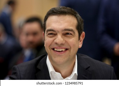 Thessaloniki, Greece - November 15, 2018. Greek Prime Minister Alexis Tsipras during a summit meeting.