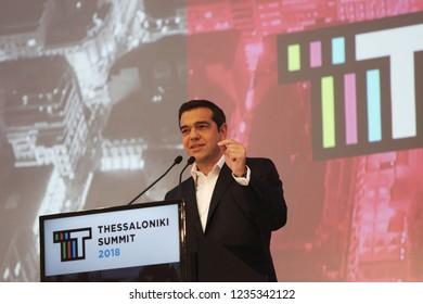 Thessaloniki, Greece - November 15, 2018. Greek Prime Minister Alexis Tsipras during Thessaloniki Summit 2018.