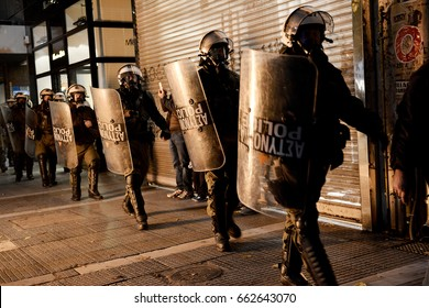Thessaloniki, Greece - November 17, 2014. Greek Riot Police officers are seen during a violent protest for the commemoration of a 1973 student uprising that was crushed by Greece's military regime.