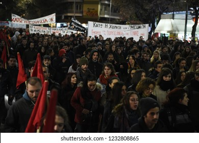 Thessaloniki, Greece - November 17, 2018. Greek students march and shout slogans during a protest for the commemoration of a 1973 student uprising that was crushed by Greece's military regime.