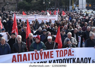 Thessaloniki, Greece - November 19, 2018. Pensioners hold a banner as they take part in a protest against more pension cuts by the Greek government.