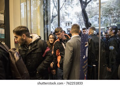 Thessaloniki, Greece - November 24, 2017. People enter inside a department store during Black Friday shopping deals.