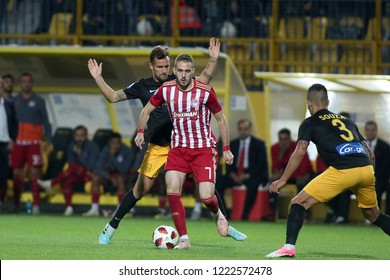 Thessaloniki, Greece - November 4, 2018. Olympiacos FC player Kostas Fortounis (Middle) in action during a Greek Superleague soccer match between Aris FC and Olympiacos FC.