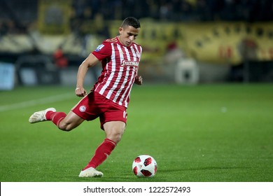 Thessaloniki, Greece - November 4, 2018. Olympiacos FC player Omar Elabdellaoui in action during a Greek Superleague soccer match between Aris FC and Olympiacos FC.