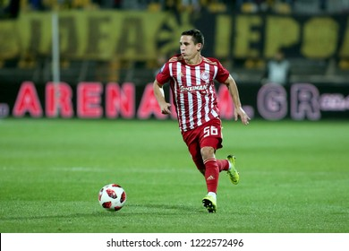 Thessaloniki, Greece - November 4, 2018. Olympiacos FC player Daniel Podence in action during a Greek Superleague soccer match between Aris FC and Olympiacos FC.