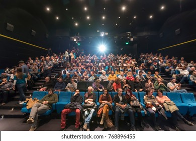 Thessaloniki, Greece - November 6, 2017: Spectators watching in the cinema during the 58th international Thessaloniki Film Festival at Jonh Cassavetes Cinema