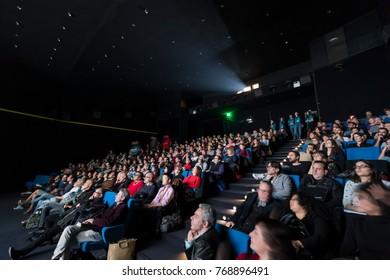Thessaloniki, Greece - November 6, 2017: Spectators watching in the cinema during the 58th international Thessaloniki Film Festival at Jonh Cassavetes Cinema