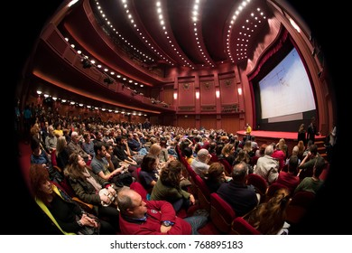 Thessaloniki, Greece - November 7, 2017: Spectators watching in the cinema during the 58th international Thessaloniki Film Festival at Olympion Cinema