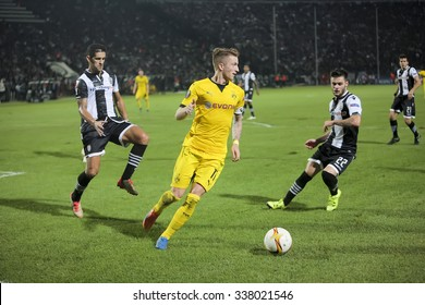 Thessaloniki, Greece, Oct  1, 2015: Dortmund Marco Reus in action during the UEFA Europa League match between PAOK vs Borussia Dortmund played at Toumba Stadium
