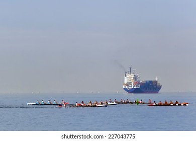 THESSALONIKI, GREECE �¢?? OCT 17, 2014 : Athletes competing during the 2014 World Rowing Coastal Championships Thessaloniki. Over 400 athletes from over 23 countries took part at the championships.