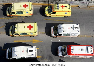 THESSALONIKI, GREECE - OCT 18  :  Unions strike and protesting with ambulance, top view, on October 18 , 2012 in Thessaloniki, Greece.