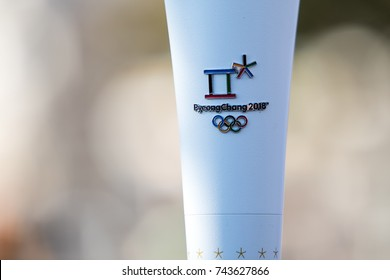 Thessaloniki, Greece, Oct 27, 2017:Winter Olympics torch relay arrived in Thessaloniki.The flame was born in ancient Olympia will travel to North Korea, in Pyongyang for the XXII Winter Olympics 2018.