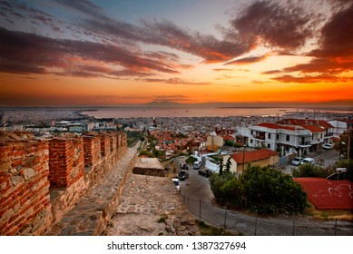 """THESSALONIKI, GREECE - October 1, 2011. Panoramic view of Thessaloniki from the walls (""""Trigoniou Tower"""") of Ano Poli (literally """"upper city""""). Macedonia, Greece"""