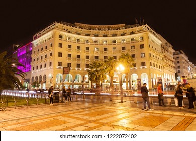 THESSALONIKI, GREECE - OCTOBER 11, 2016: Aristotelous Square is the main city square of Thessaloniki, Greece and is located on Nikis avenue, on the waterfront in the city center.