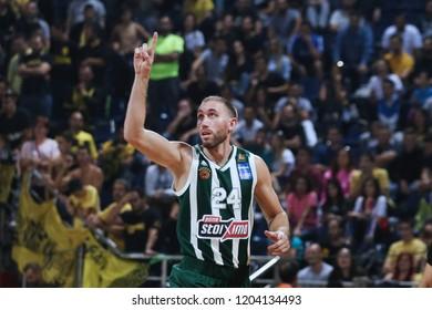 Thessaloniki, Greece - October 13, 2018. Panathinaikos's player Matt Lojeski celebrates after scoring during a game between Aris BC and Panathinaikos BC.