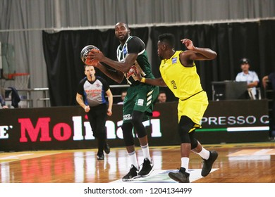Thessaloniki, Greece - October 13, 2018. Panathinaikos's player Stephane Lasme (Left) in action during a game between Aris BC and Panathinaikos BC.