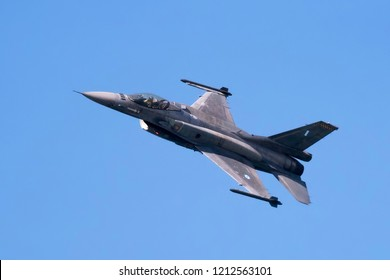 Thessaloniki, Greece - October 25, 2018. A Hellenic Air Force F-16C Block 52+ flies over the city during a test flight.