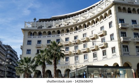 Thessaloniki, Greece - October 26 2015: View on Electra Palace hotel on Aristotelous Square in the center of Thessaloniki.