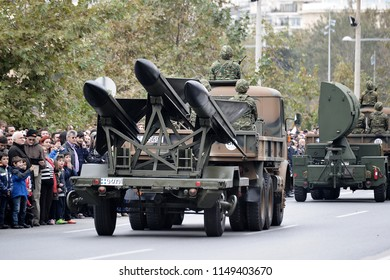 Thessaloniki, Greece - October 28, 2014.  A Greek Army truck carries MIM-23 Hawk Surface to Air Missiles during a parade for the celebration of the entrance of Greece in WWII back in 1940.