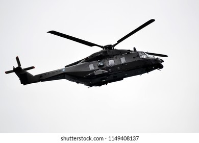 Thessaloniki, Greece - October 28, 2014. A Greek Army NH90 Helicopter flies during a parade for the celebration of the entrance of Greece in WWII back in 1940.