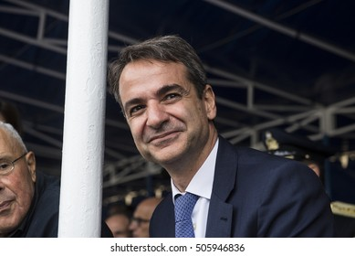 Thessaloniki, Greece - October 28, 2016. Kyriakos Mitsotakis, leader of the New Democracy party, attends attends the annual military parade for the entrance of Greece in WWII, back in 1940,