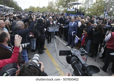 Thessaloniki, Greece - October 28, 2016. Prokopis Pavlopoulos, President of the Greek Republic, attends the annual military parade, for the entrance of Greece in WWII back in 28th of October 1940