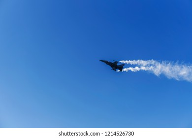 Thessaloniki, Greece - October 28 2018: F-16C Block 52 plus Greek Air Force team Zeus fighter jet flying above Thessaloniki's sky at 28 October national day military parade.