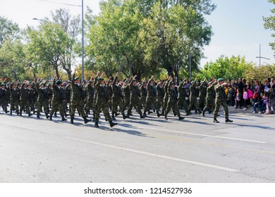 Thessaloniki, Greece - October 28 2018: Oxi Day Greek Army parade. March during national day celebration military parade, commemorating the Greek no against the Mussolini Italian 1940 ultimatum.