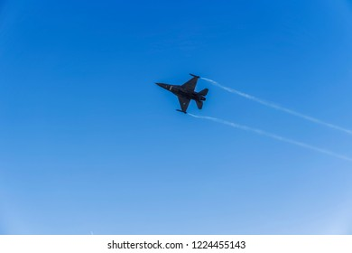 Thessaloniki, Greece - October 28 2018: Greek Air Force F-16C Block 52 plus jet. Team Zeus fighter flying at 28 October military parade, commemorating the Greek no against Italian 1940 ultimatum.