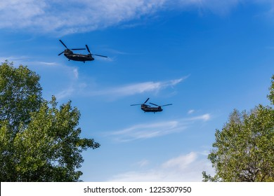 Thessaloniki, Greece - October 28 2018: Greek Air Force Chinook helicopters flying. Boeing CH-47 Chinook twin engined lift helicopters at military parade for Greek no on Italian 1940 ultimatum.