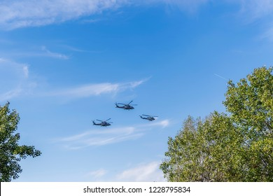 Thessaloniki, Greece - October 28 2018: Greek Air Force Seahawk & Agusta Bell helicopters flying. SH Sikorsky Seahawk & Agusta Bell AB-212 frigate Anti Submarine Warfare helicopters at military parade