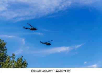 Thessaloniki, Greece - October 28 2018: Greek Air Force Bell Huey helicopters flying. Hellenic Army Aviation UH-1H Agusta-Bell AB-205A at military parade for Greek no on Italian 1940 ultimatum.