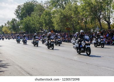 Thessaloniki, Greece - October 28 2018: Hellenic Police motorcycles during Oxi Day parade. Greek police - Ellinikii Astynomia Security forces bikes with personnel at national day celebration parade.